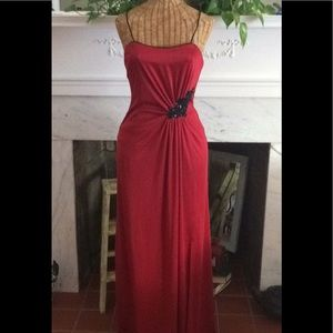 Vintage 70's Red Black Sequin Bead Maxi Dress Gown